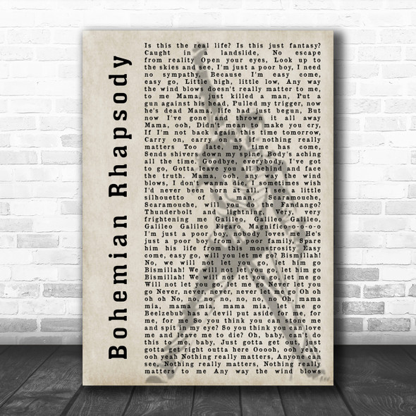 Queen Bohemian Rhapsody Freddie Mercury Silhouette Song Lyric Music Wall Art Print