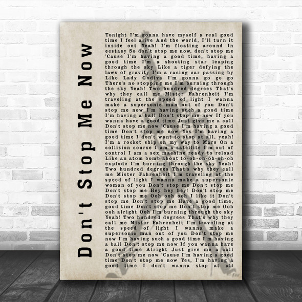 Queen Don't Stop Me Now Freddie Mercury Silhouette Song Lyric Music Wall Art Print