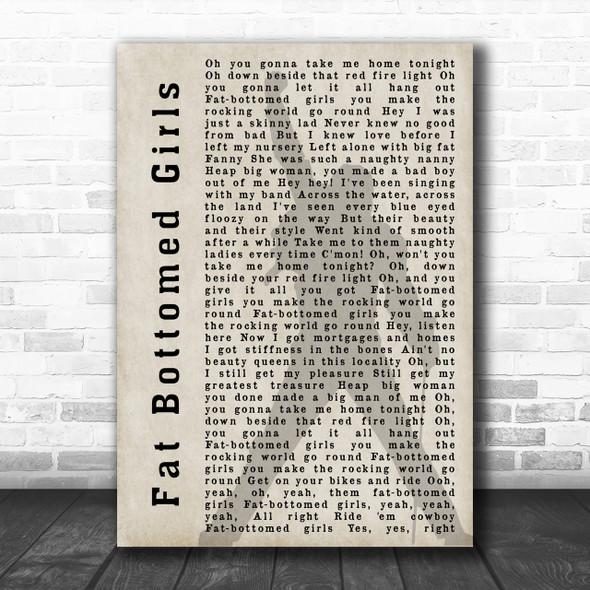 Queen Fat Bottomed Girls Freddie Mercury Shadow Song Lyric Music Wall Art Print