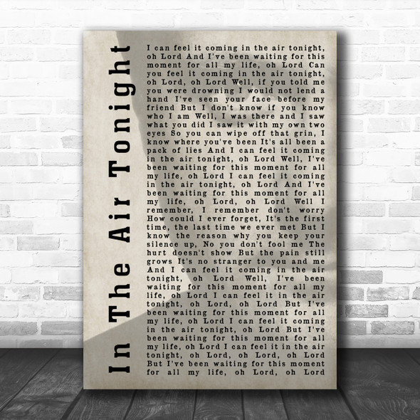 Phil Collins In The Air Tonight Shadow Song Lyric Music Wall Art Print