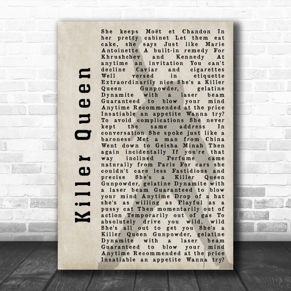 Queen Killer Queen Freddie Mercury Shadow Song Lyric Music Wall Art Print