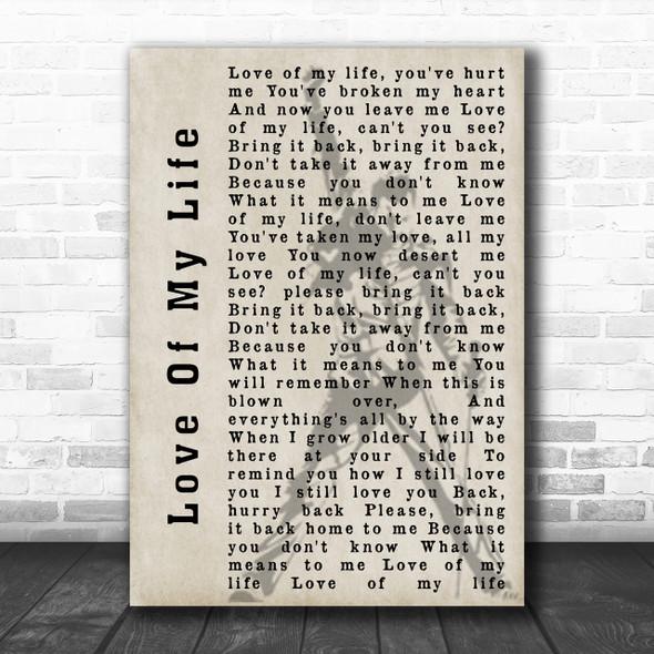 Queen Love Of My Life Freddie Mercury Silhouette Song Lyric Music Wall Art Print