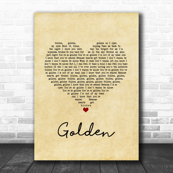 Harry Styles Golden Vintage Heart Song Lyric Music Art Print