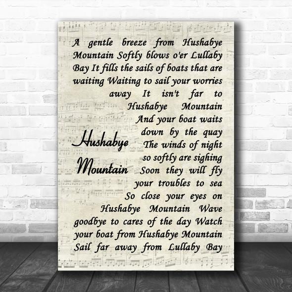 Dick Van Dyke Hushabye Mountain Vintage Script Song Lyric Music Art Print