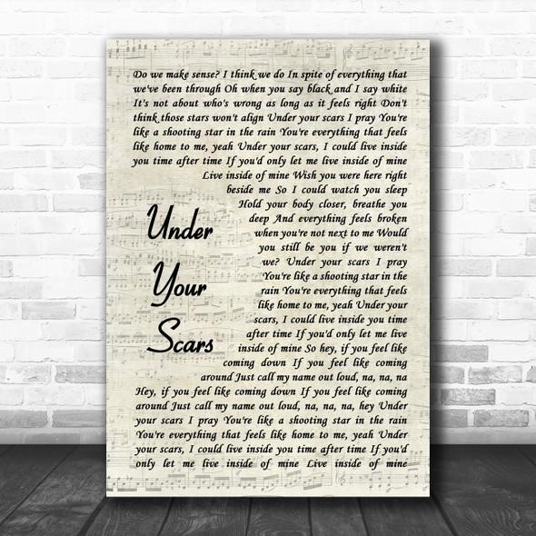 Godsmack Under Your Scars Vintage Script Song Lyric Music Art Print