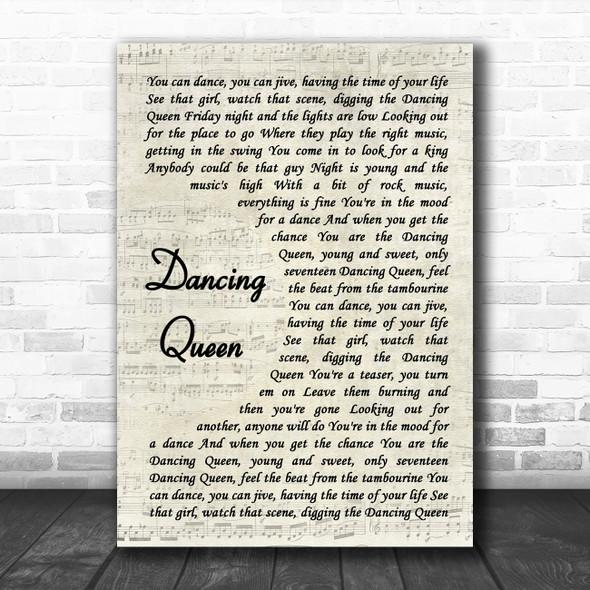 ABBA Dancing Queen Vintage Script Song Lyric Music Art Print