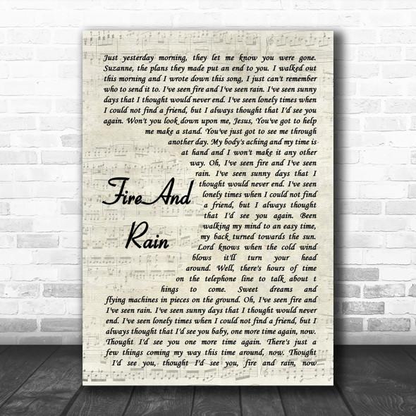 James Taylor Fire And Rain Vintage Script Song Lyric Music Art Print