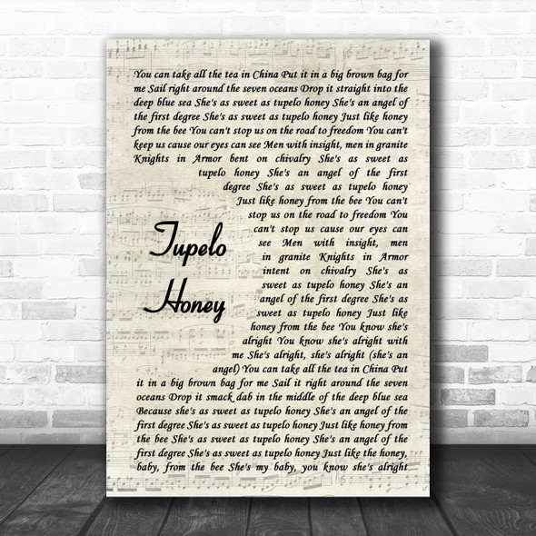 Van Morrison Tupelo Honey Vintage Script Song Lyric Music Art Print