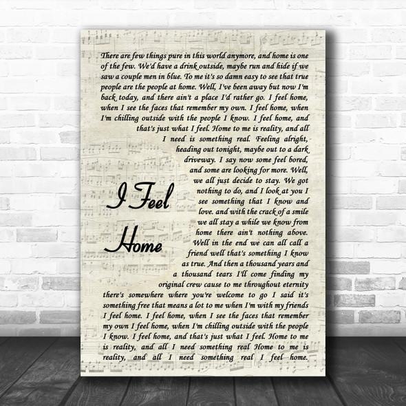 O.A.R. I Feel Home Vintage Script Song Lyric Music Art Print