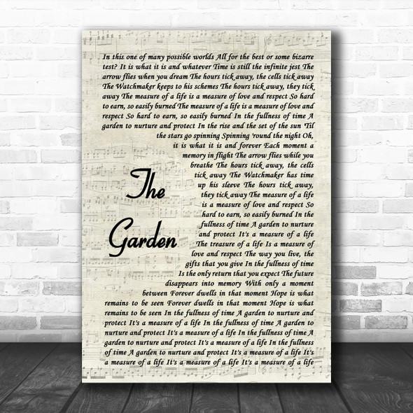 RUSH THE GARDEN Vintage Script Song Lyric Music Art Print
