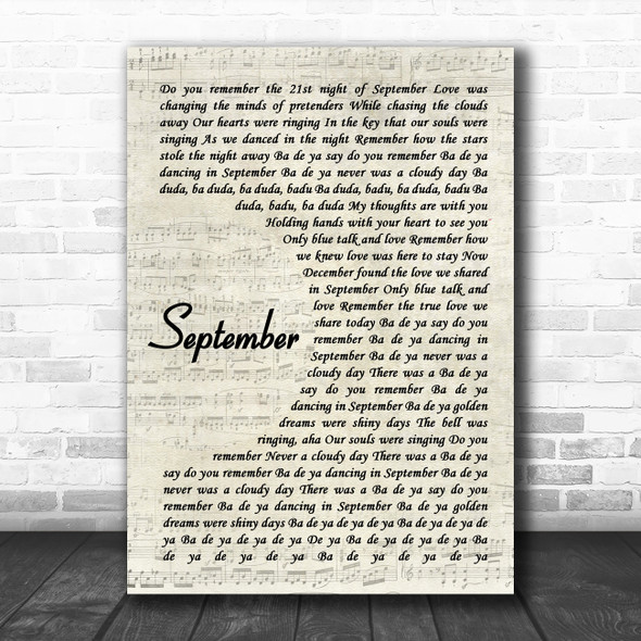 Earth, Wind And Fire September Vintage Script Song Lyric Music Art Print