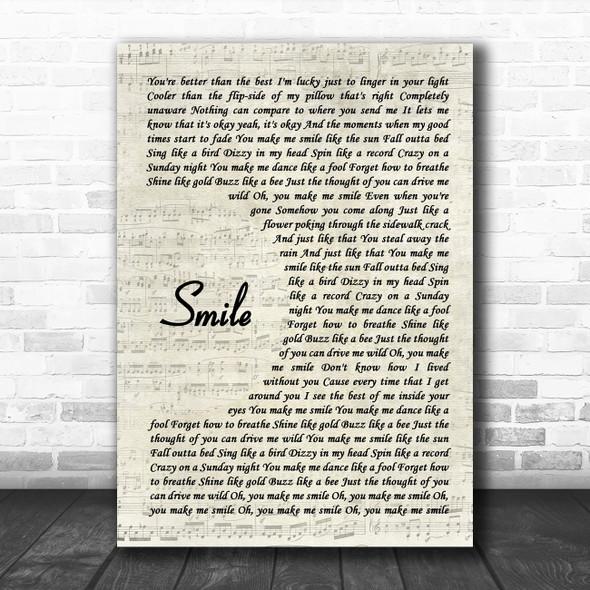 Uncle Kracker Smile Vintage Script Song Lyric Music Art Print