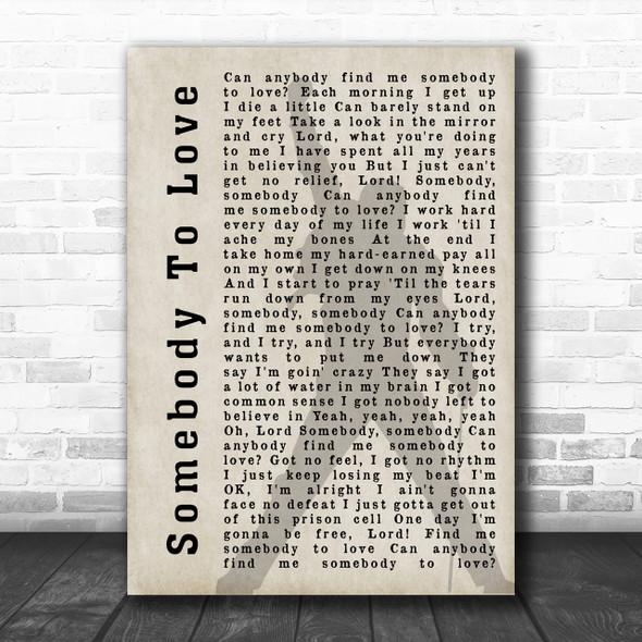 Queen Somebody To Love Freddie Mercury Shadow Song Lyric Music Wall Art Print