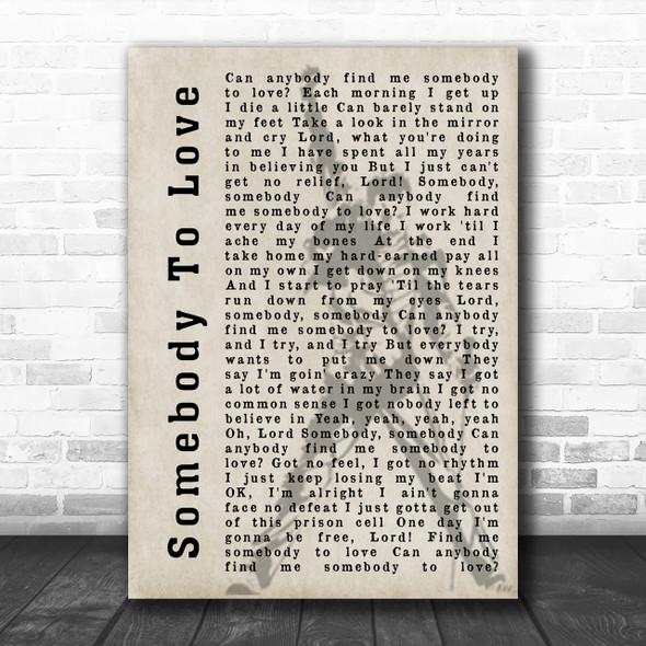 Queen Somebody To Love Freddie Mercury Silhouette Song Lyric Music Wall Art Print