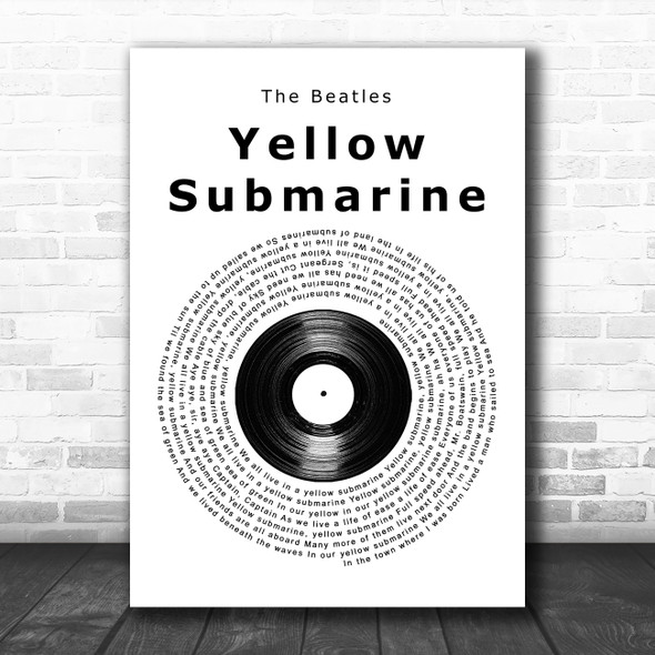 The Beatles Yellow Submarine Vinyl Record Song Lyric Music Art Print