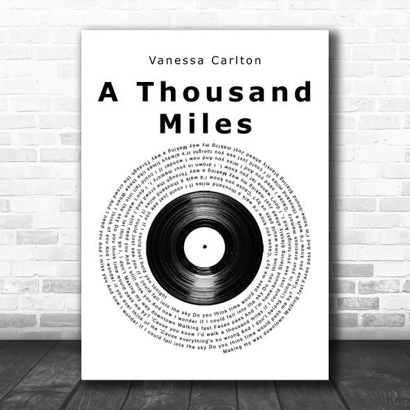 Vanessa Carlton A Thousand Miles Vinyl Record Song Lyric Music Art Print