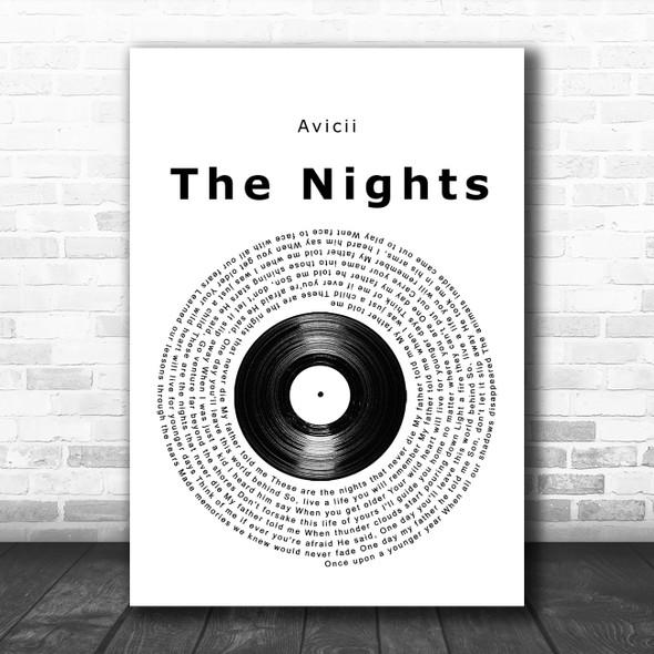 Avicii The Nights Vinyl Record Song Lyric Music Art Print