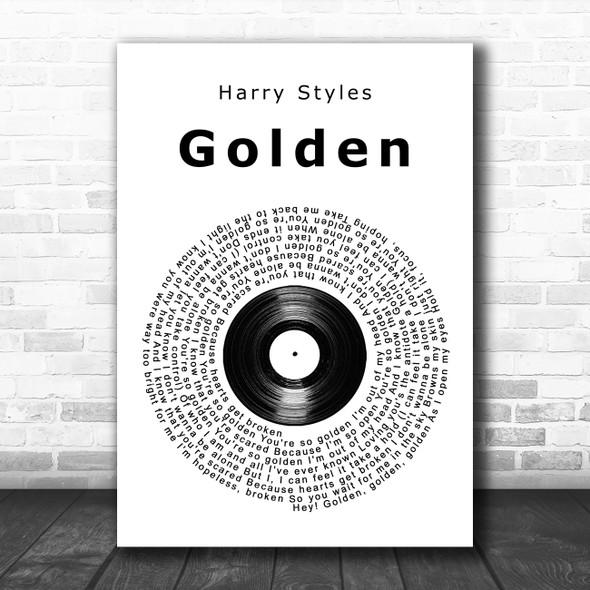 Harry Styles Golden Vinyl Record Song Lyric Music Art Print