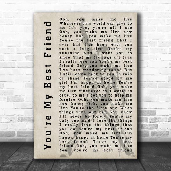 Queen You're My Best Friend Freddie Mercury Silhouette Song Lyric Music Wall Art Print