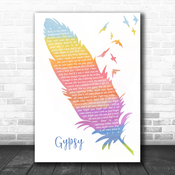 Fleetwood Mac Gypsy Watercolour Feather & Birds Song Lyric Music Art Print