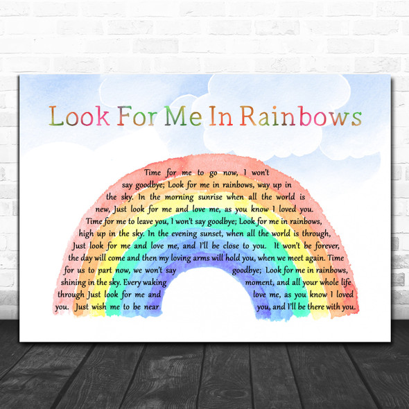 Vicki Brown Look For Me In Rainbows Watercolour Rainbow & Clouds Song Lyric Music Art Print