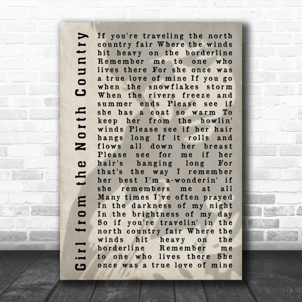 Bob Dylan Girl from the North Country Shadow Song Lyric Music Wall Art Print