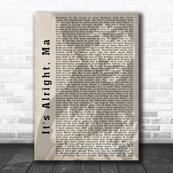 Bob Dylan It's Alright, Ma Shadow Song Lyric Music Wall Art Print