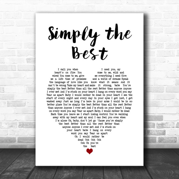 Noah Reid Simply the Best White Heart Song Lyric Music Art Print