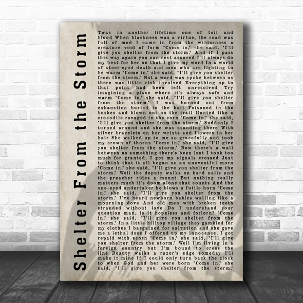Bob Dylan Shelter From the Storm Shadow Song Lyric Music Wall Art Print