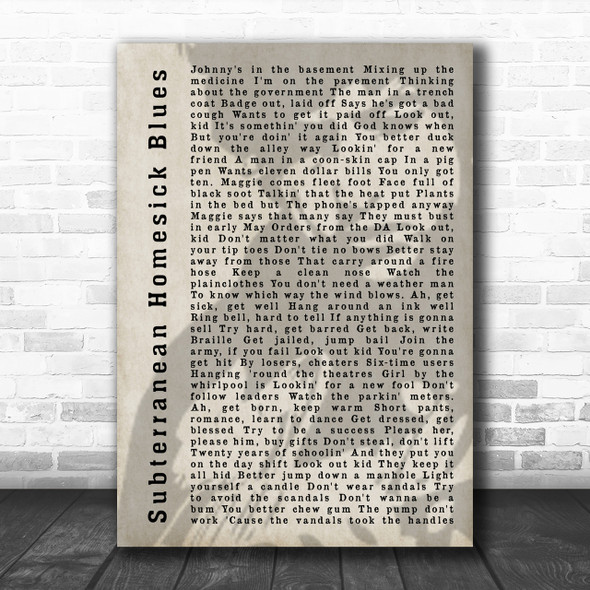 Bob Dylan Subterranean Homesick Blues Shadow Song Lyric Music Wall Art Print