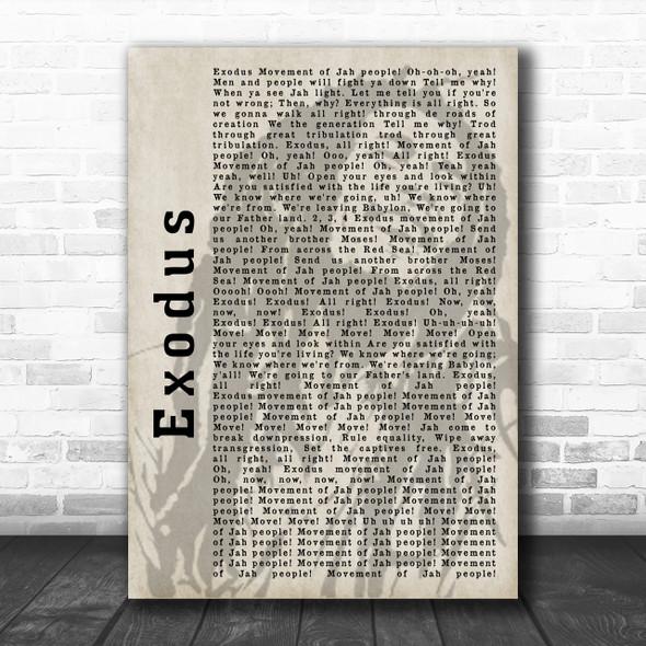 Bob Marley Exodus Shadow Song Lyric Music Wall Art Print