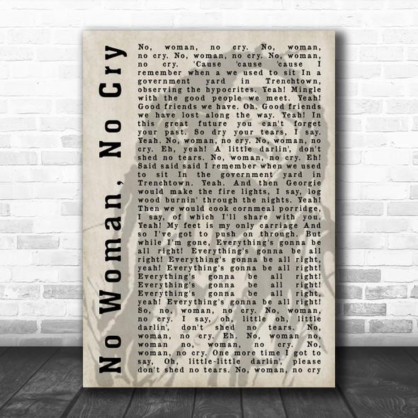 Bob Marley No Woman, No Cry Shadow Song Lyric Music Wall Art Print