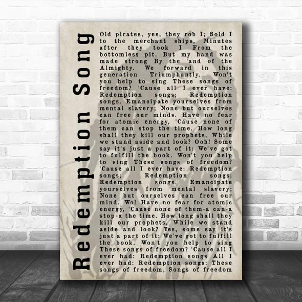 Bob Marley Redemption Song Shadow Song Lyric Music Wall Art Print