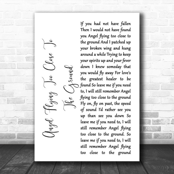 Willie Nelson Angel Flying Too Close To The Ground White Script Song Lyric Music Art Print