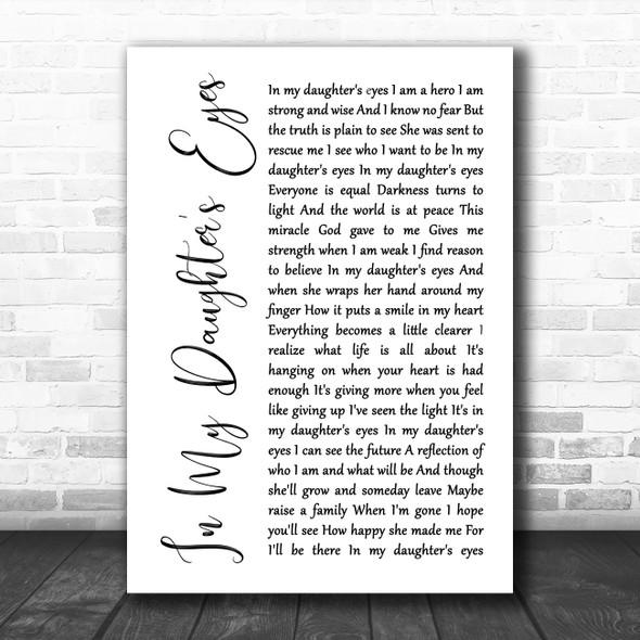 Martina McBride In My Daughter's Eyes White Script Song Lyric Music Art Print