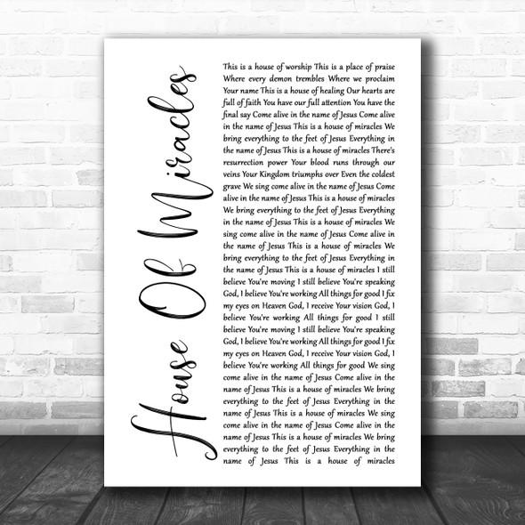 Brandon Lake House Of Miracles White Script Song Lyric Music Art Print
