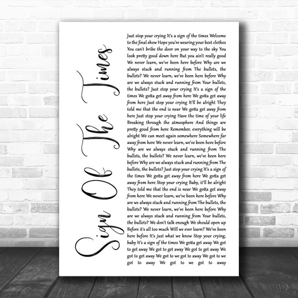 Harry Styles Sign Of The Times White Script Song Lyric Music Art Print