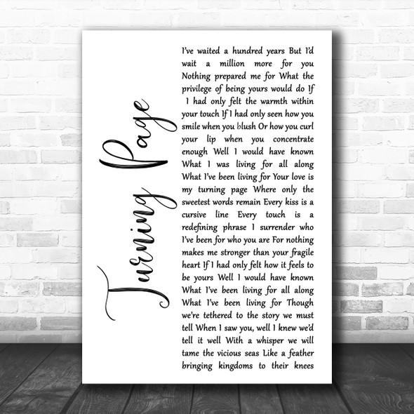 Sleeping At Last Turning Page White Script Song Lyric Music Art Print