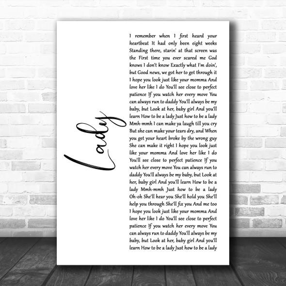 Brett Young Lady White Script Song Lyric Music Art Print