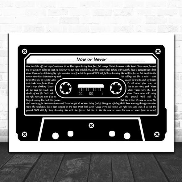 Julie and the Phantoms Cast Now or Never Black & White Music Cassette Tape Song Lyric Art Print