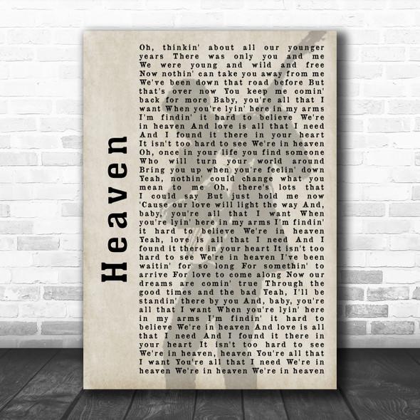 Bryan Adams Heaven Shadow Song Lyric Music Wall Art Print