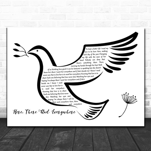 The Beatles Here, There And Everywhere Black & White Dove Bird Song Lyric Art Print