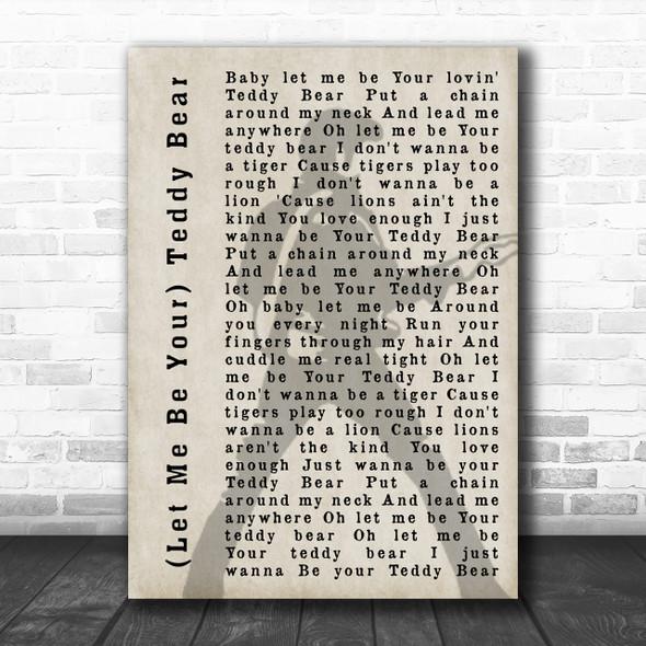 Elvis Presley (Let Me Be Your) Teddy Bear Pose Shadow Song Lyric Music Wall Art Print