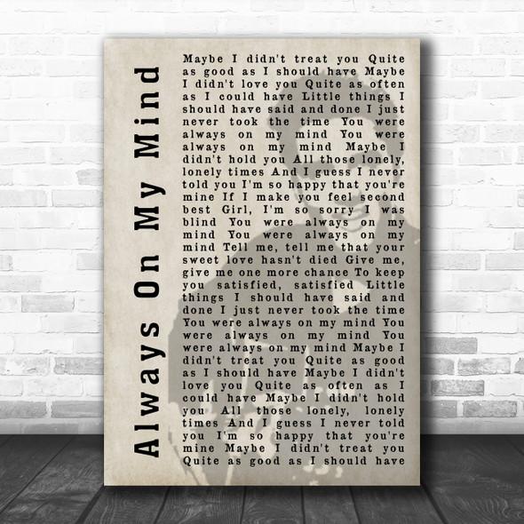 Elvis Presley Always On My Mind Face Shadow Song Lyric Music Wall Art Print