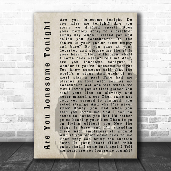 Elvis Presley Are You Lonesome Tonight Face Shadow Song Lyric Music Wall Art Print