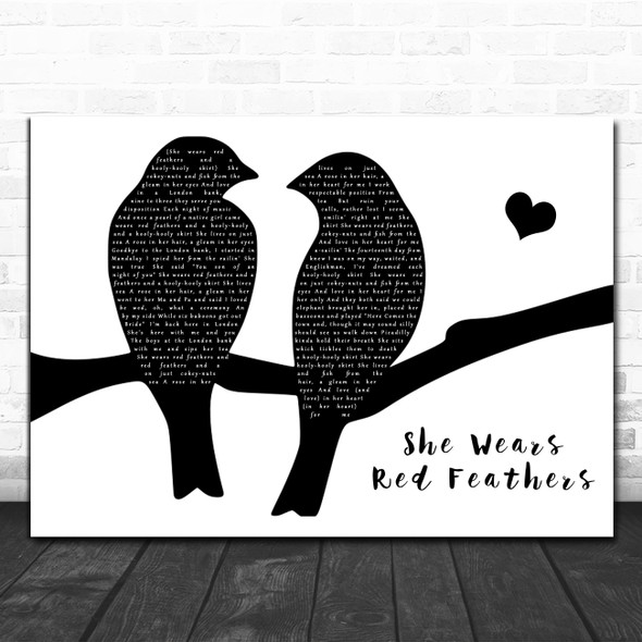 Guy Mitchell She Wears Red Feathers Lovebirds Black & White Song Lyric Art Print