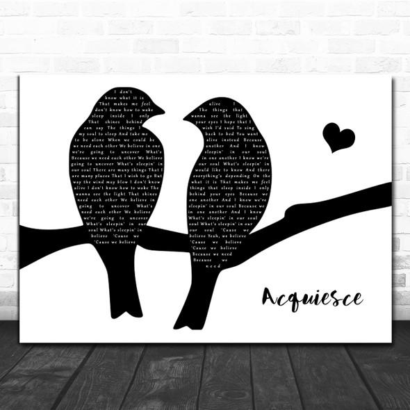Oasis Acquiesce Lovebirds Black & White Song Lyric Art Print