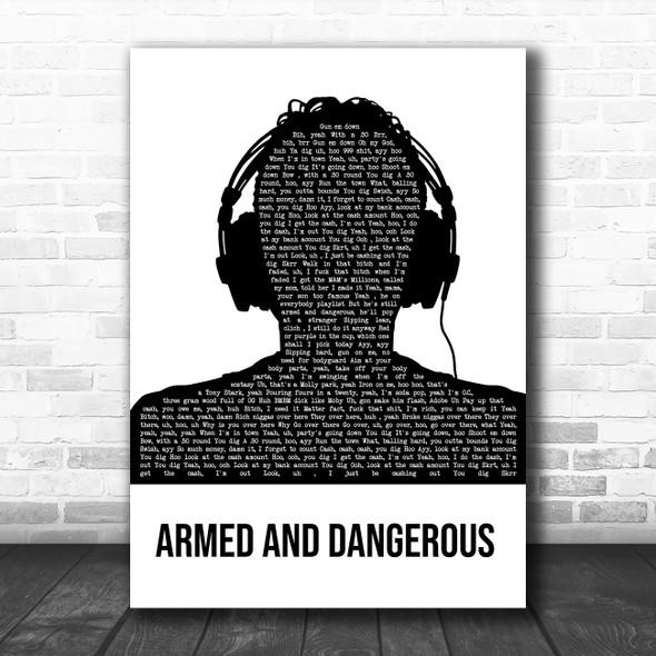 Juice Wrld Armed And Dangerous Black & White Man Headphones Song Lyric Art Print
