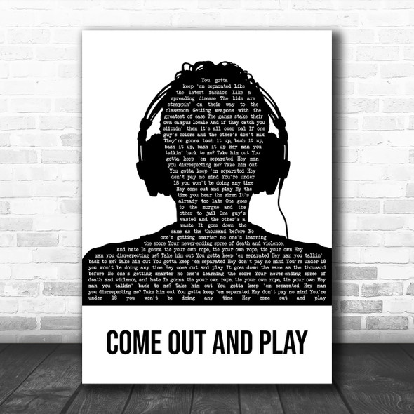 The Offspring Come Out And Play Black & White Man Headphones Song Lyric Art Print
