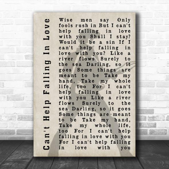 Elvis Presley Can't Help Falling In Love Pose Shadow Song Lyric Music Wall Art Print